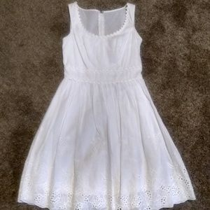 White Dress with Eyelett Detail